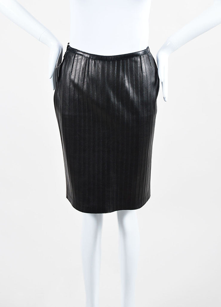 Black Gucci Leather Paneled Knee Length Pencil Skirt Frontview