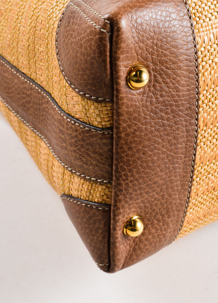 "Gucci Brown Straw and Crocodile Leather ""Secret"" Hobo Bag Detail"