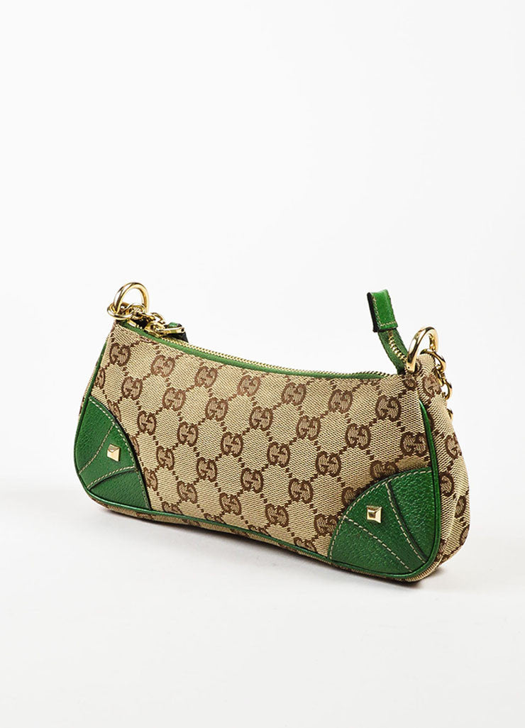 Gucci Brown and Tan Monogrammed Canvas and Green Leather Trimmed Pochette Bag Sideview