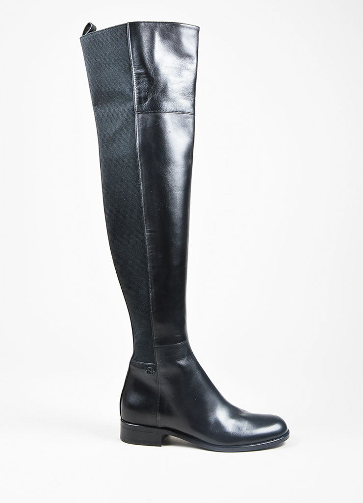"Black Gucci Leather Elastic ""Maud"" Over the Knee Heeled Boots Sideview"