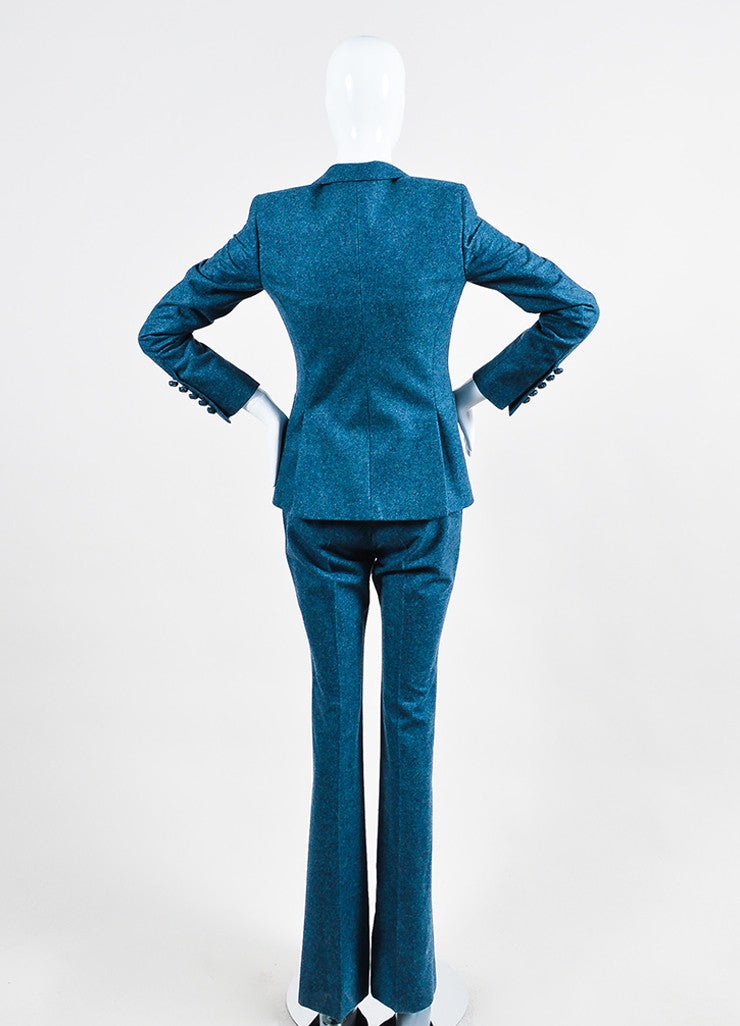 Blue Gucci Speckled Wool Jacket and Trousers Suit Set Back