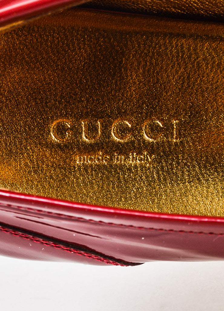 Gucci Red Patent Leather Gold Toned Horsebit Loafers Brand