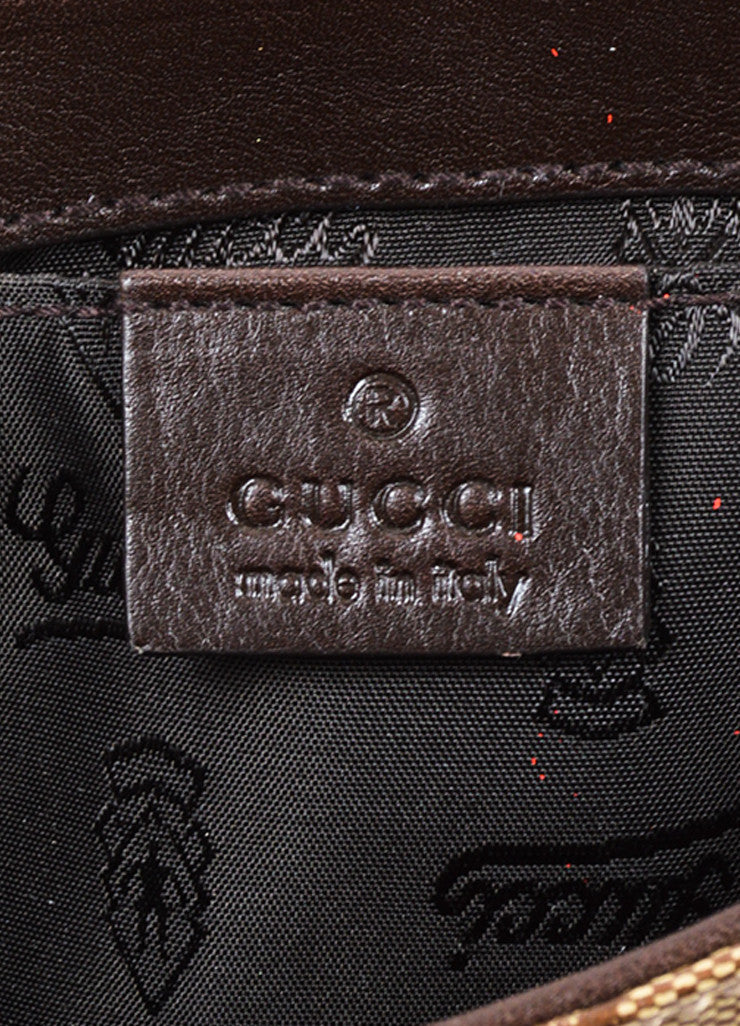 "Gucci Tan and Brown Coated Canvas Monogram Crested Heart ""Crystal Babouska"" Hand Bag Brand"