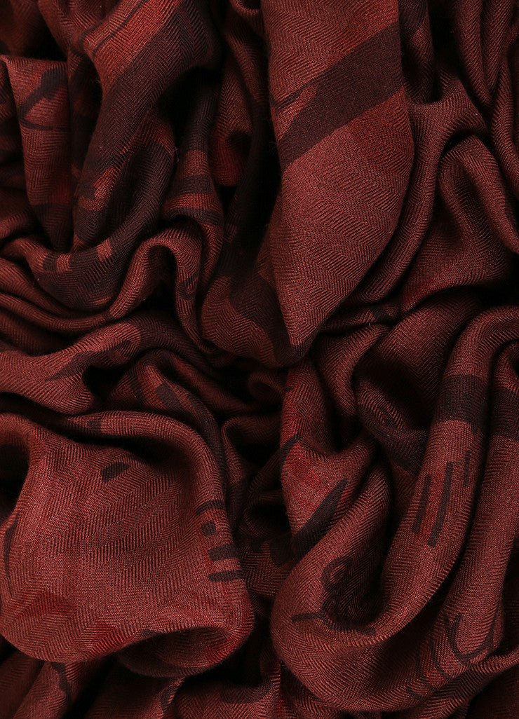 Hermes Maroon and Brown Cashmere Silk Knit Dyed Sun Dial Print Fringe Scarf Detail