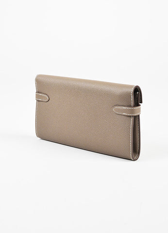 "Hermes Etoupe Taupe Epsom Leather ""Kelly Long"" Wallet Sideview"