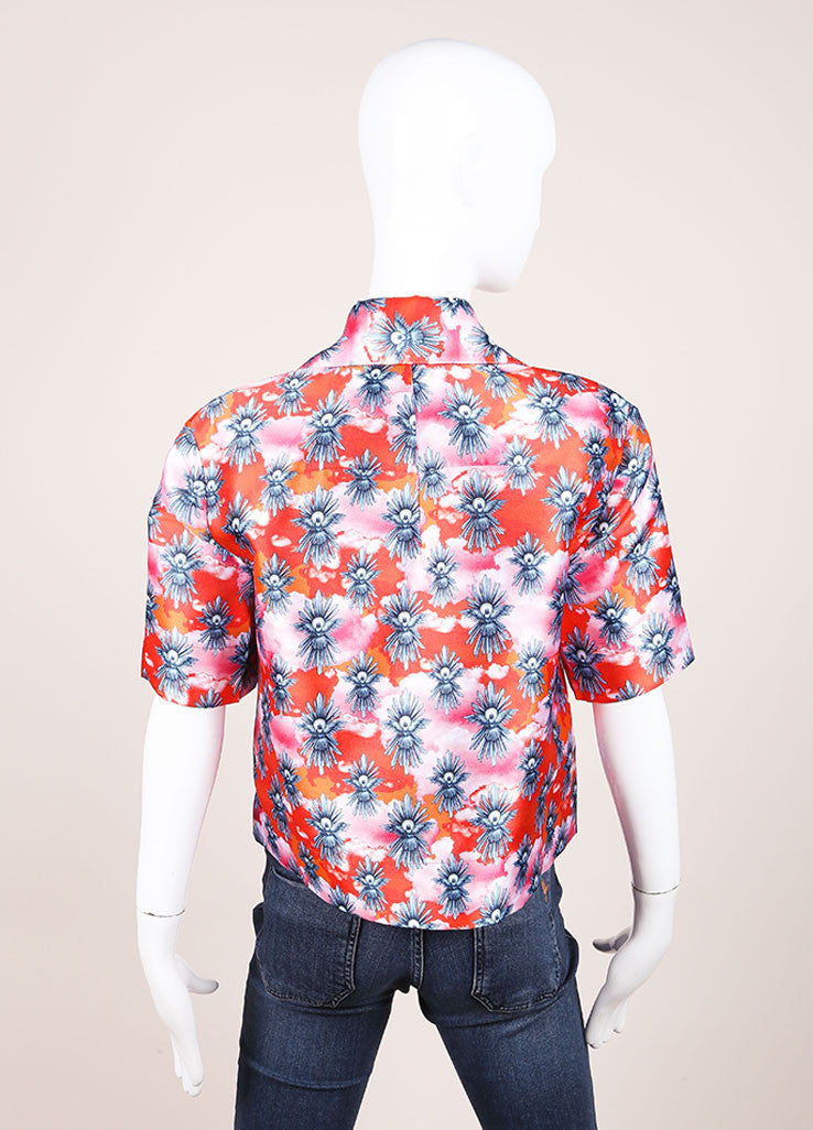 "House of Holland New With Tags Orange and Pink Satin ""Tropical Dove"" Print Short Sleeve Top Backview"