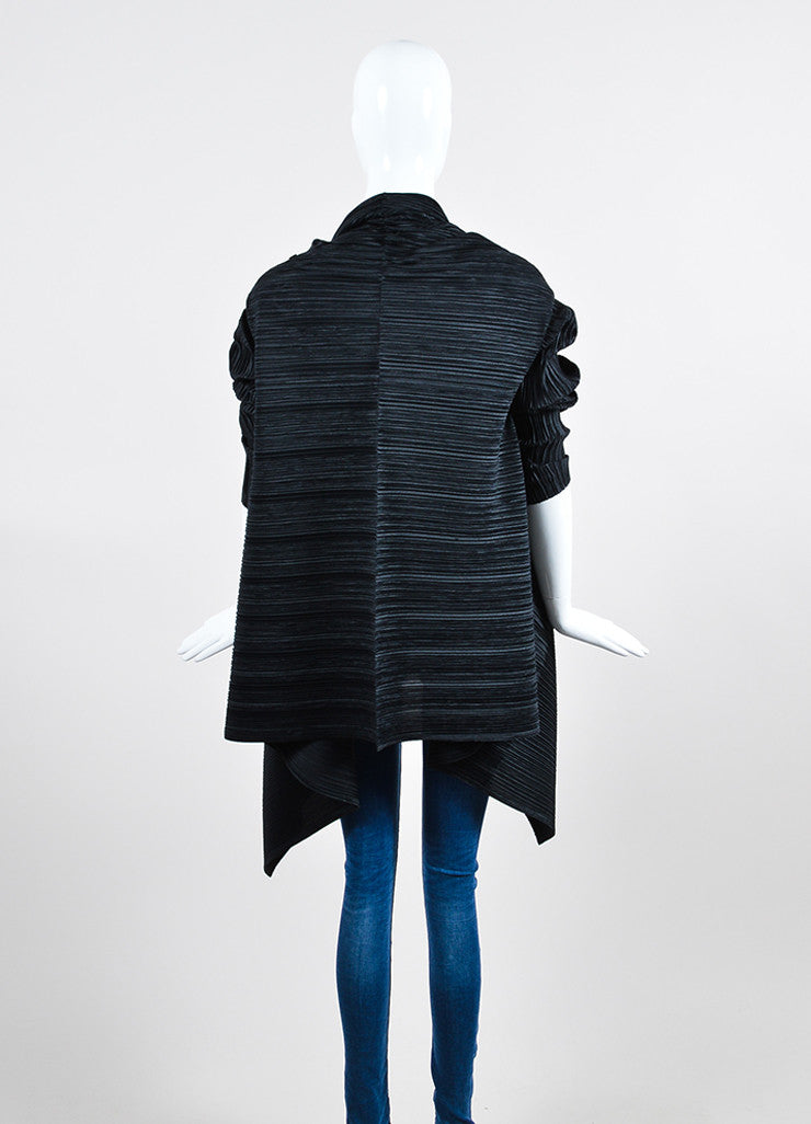 Black Issey Miyake White Label Pleated Open Draped Cardigan Backview