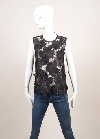"Jonathan Saunders New With Tags Black Embroidered Flower ""Clement"" Top Frontview"