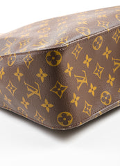 "Brown Louis Vuitton Coated Canvas Monogram ""Looping GM"" Tote Detail 2"