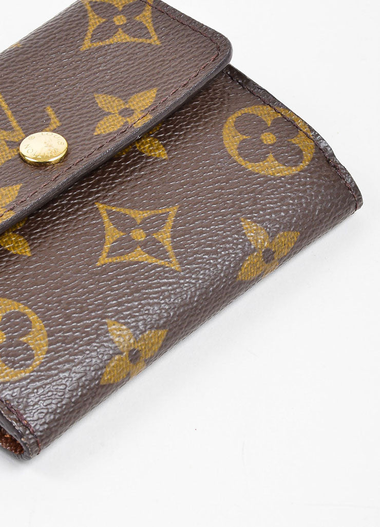 Brown and Tan Louis Vuitton Monogram Coated Canvas Small Snap Card Wallet Bottom View