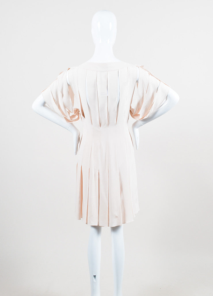 Pale Pink Louis Vuitton Pleated Cut Out Bow Short Sleeve Dress Backview