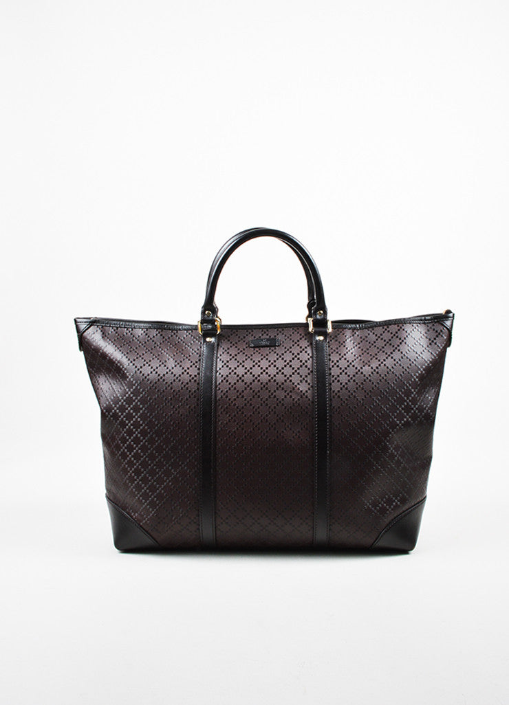 "Men's Gucci Brown Leather ""Medium Hilary Lux Diamante"" East-West Tote Bag Frontview"