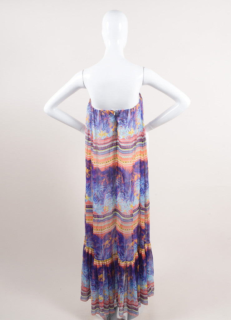 MSGM New With Tags Purple and Multicolor Silk Tropical Print Strapless Maxi Dress Backview