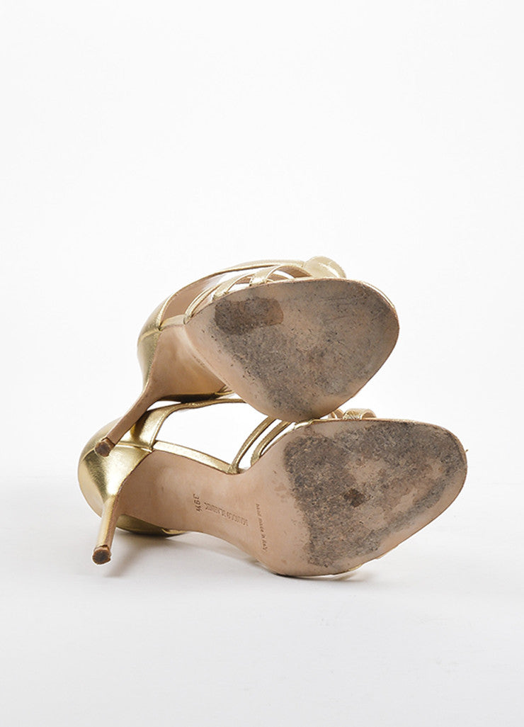 Gold Manolo Blahnik Leather Rakelanzany Heeled Sandals Sole