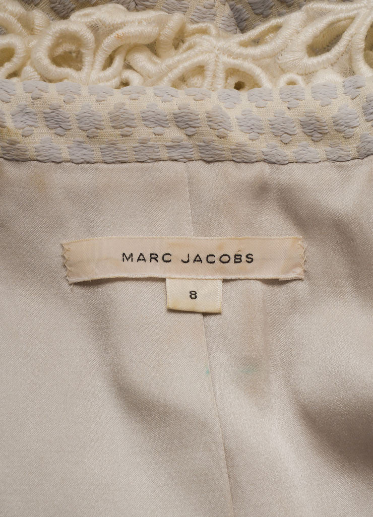 Marc Jacobs Lavender and Ivory Woven Eyelet Collar Cropped Jacket Brand