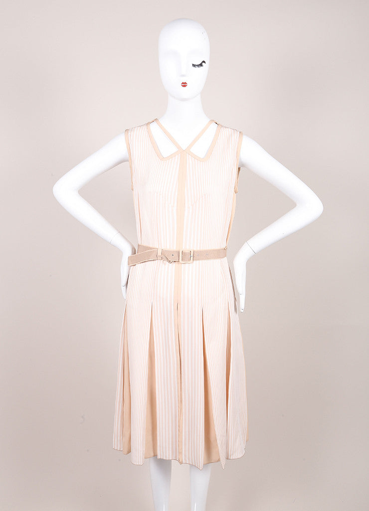 Marc Jacobs New With Tags Beige and Cream Stripe Pleated and Belted Cut Out Dress Frontview
