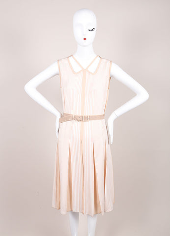 Marc Jacobs Beige and Cream Stripe Pleated and Belted Cut Out Dress Frontview