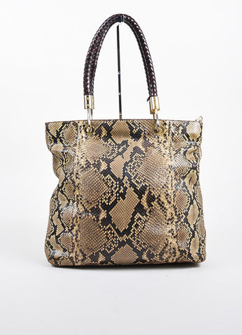 "Tan and Brown Michael Kors Python Leather Braided Handle ""Skorpios"" Tote Bag Frontview"