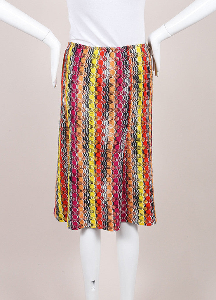 Missoni Multicolor Linen Blend Knit Pleated Skirt Backview