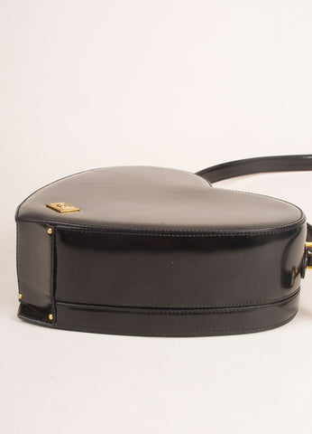 Moschino Black Patent Leather Heart Satchel Shoulder Bag Sideview