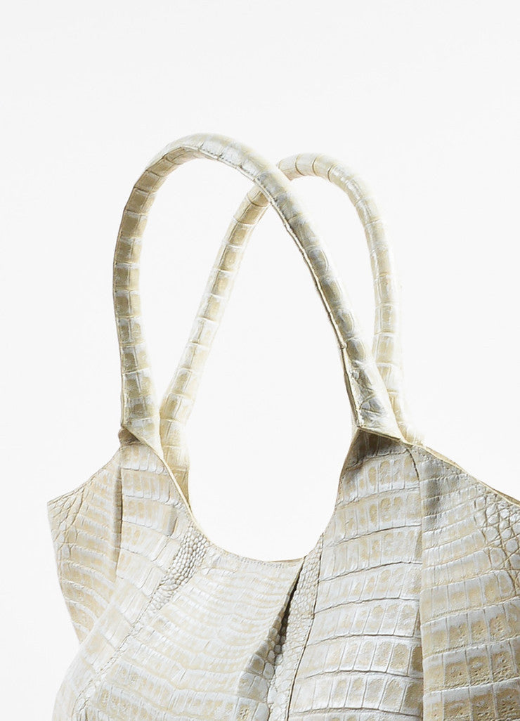 Cream Nancy Gonzalez Crocodile Leather Pleated Top Handle Tote Bag Detail 3
