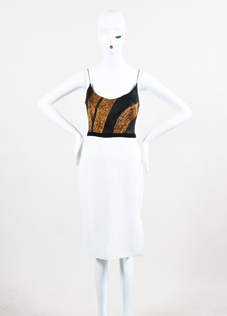 Narciso Rodriguez White, Black, and Bronze Leather Crepe Pencil Dress Frontview