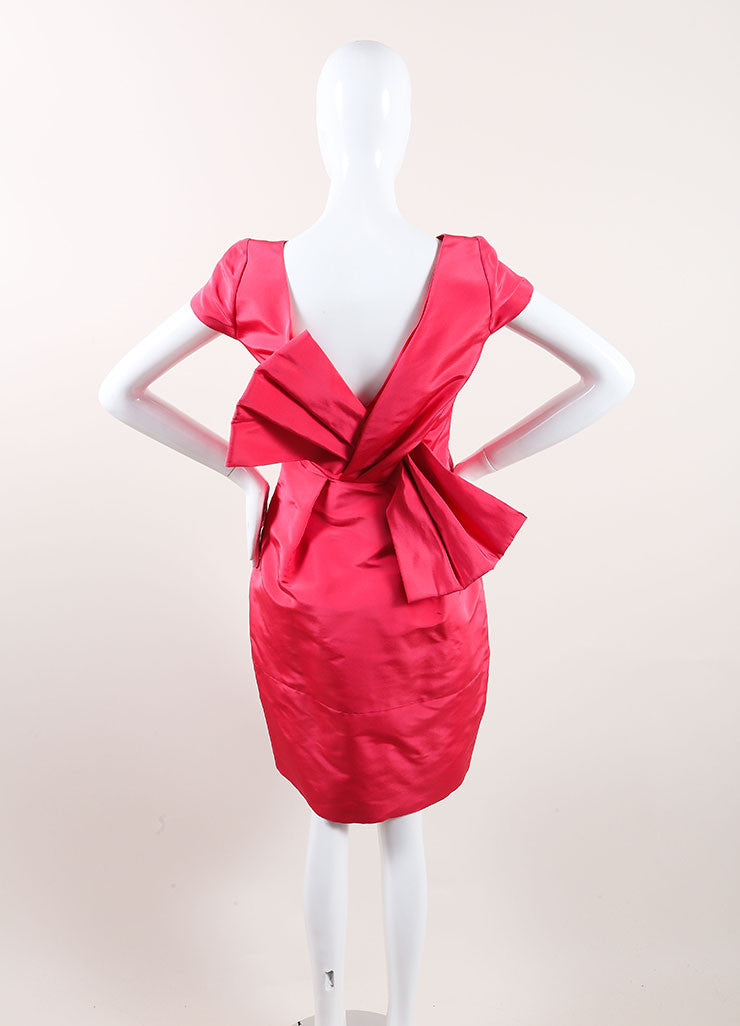 Oscar de la Renta New With Tags Pink Silk Bow Back Cap Sleeve Bell Dress Backview
