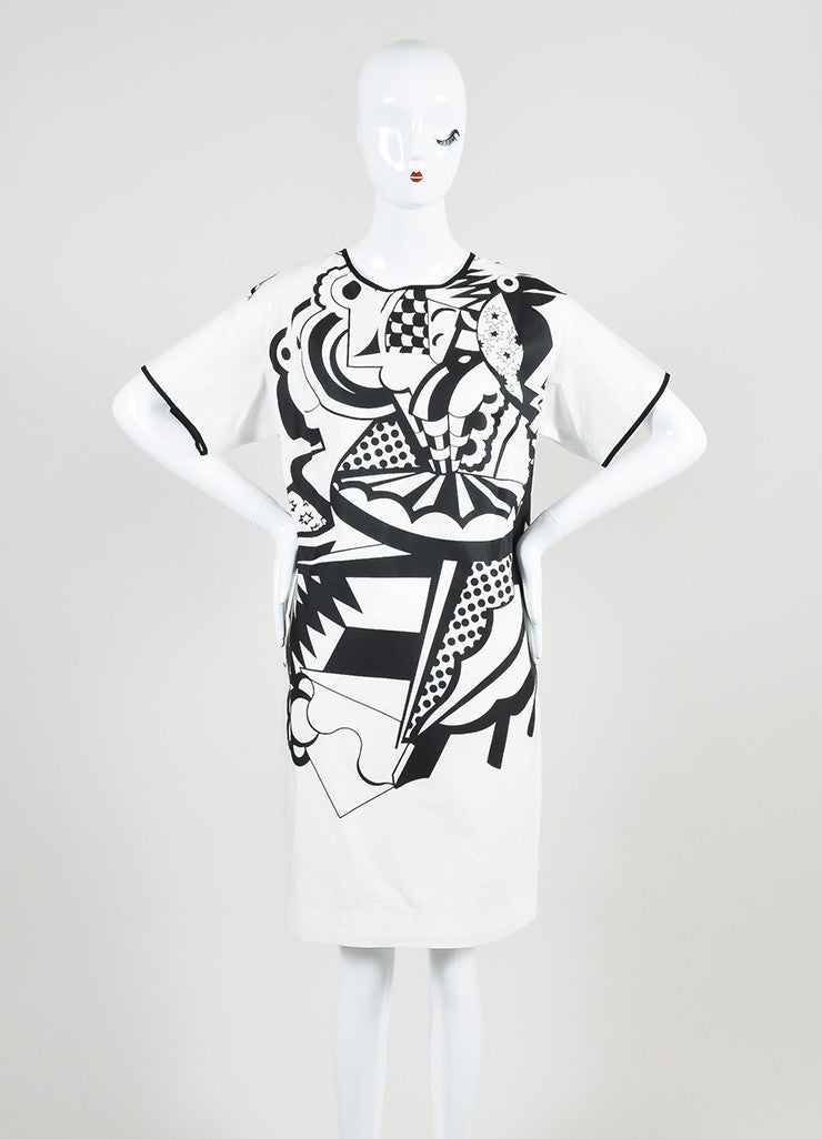 White and Black Piazza Sempione Cotton Printed Short Sleeve Shift Dress Frontview