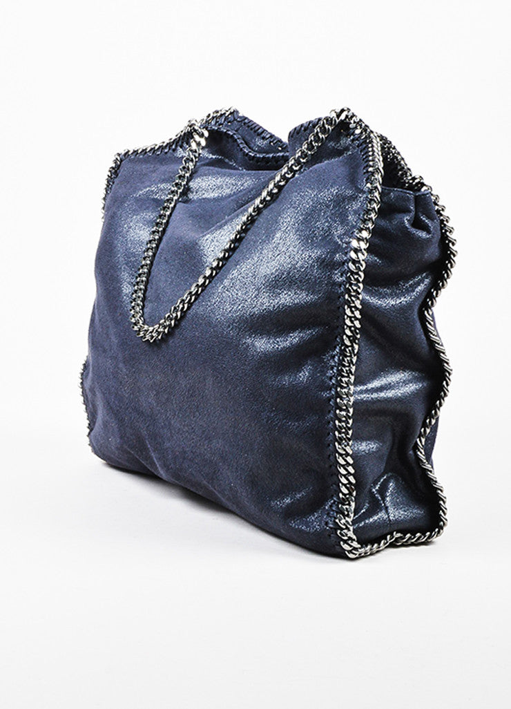 Stella McCartney Navy Blue Faux Deer Silver Toned Metal Chain Handle Shoulder Bag Sideview