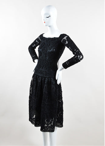 Salvatore Ferragamo Black Wool Crochet Macrame Long Sleeve Dress Sideview