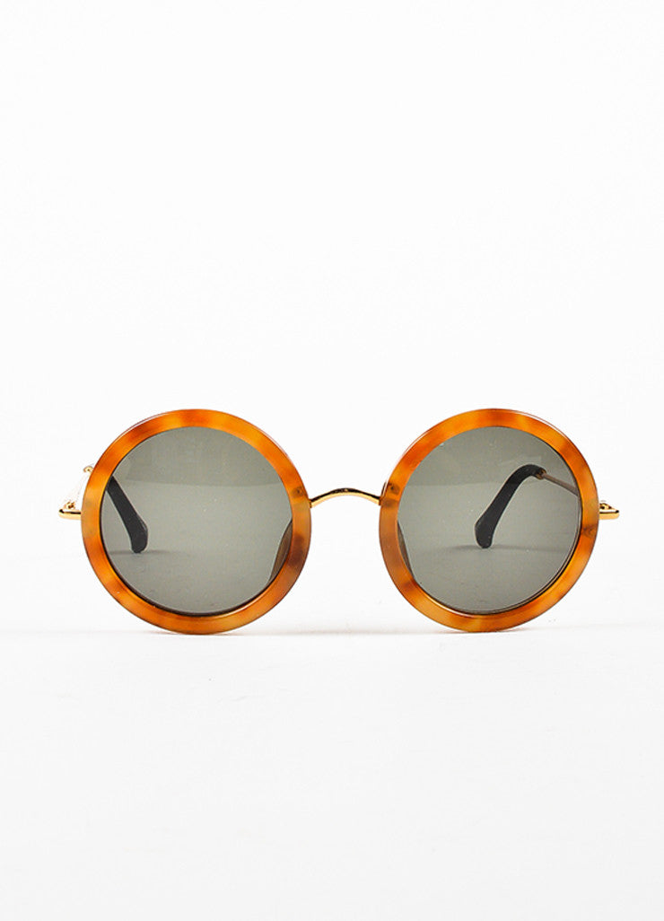 The Row x Linda Farrow Brown Tortoiseshell Circle Frame Sunglasses Front 2