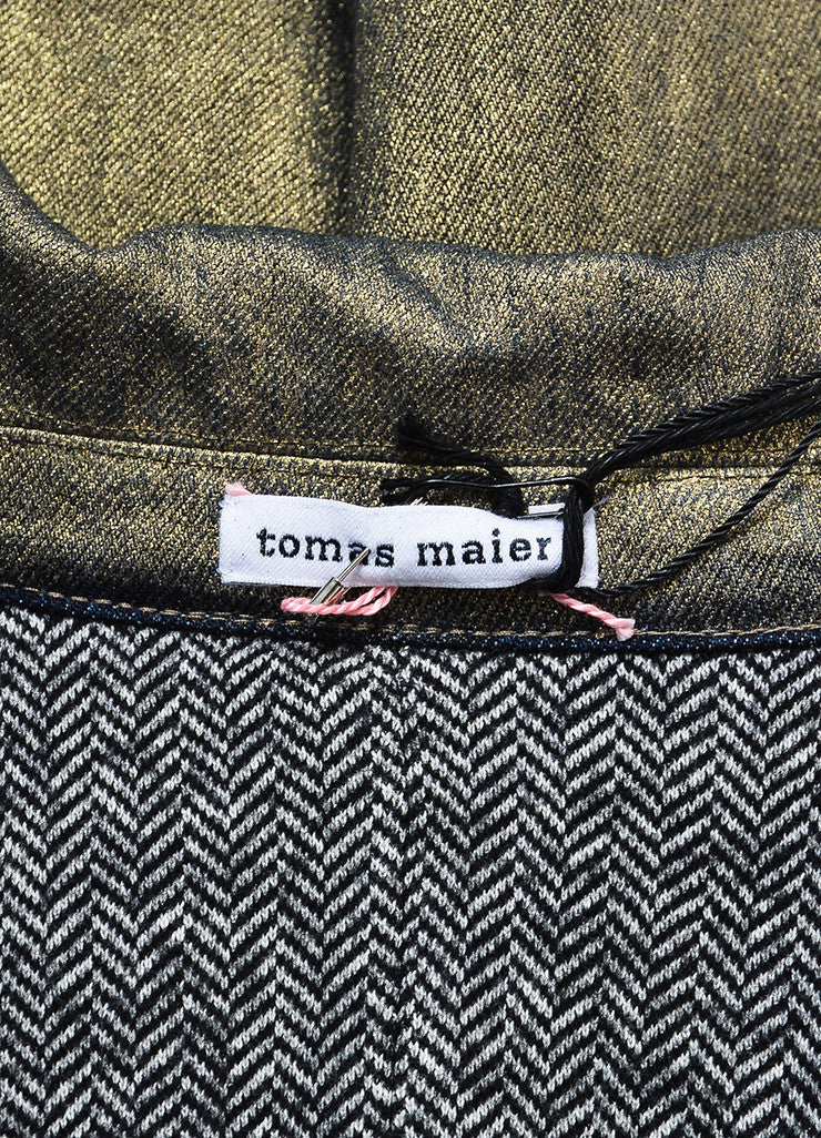 Gold Metallic Tomas Maier Coated Belted Jacket Brand