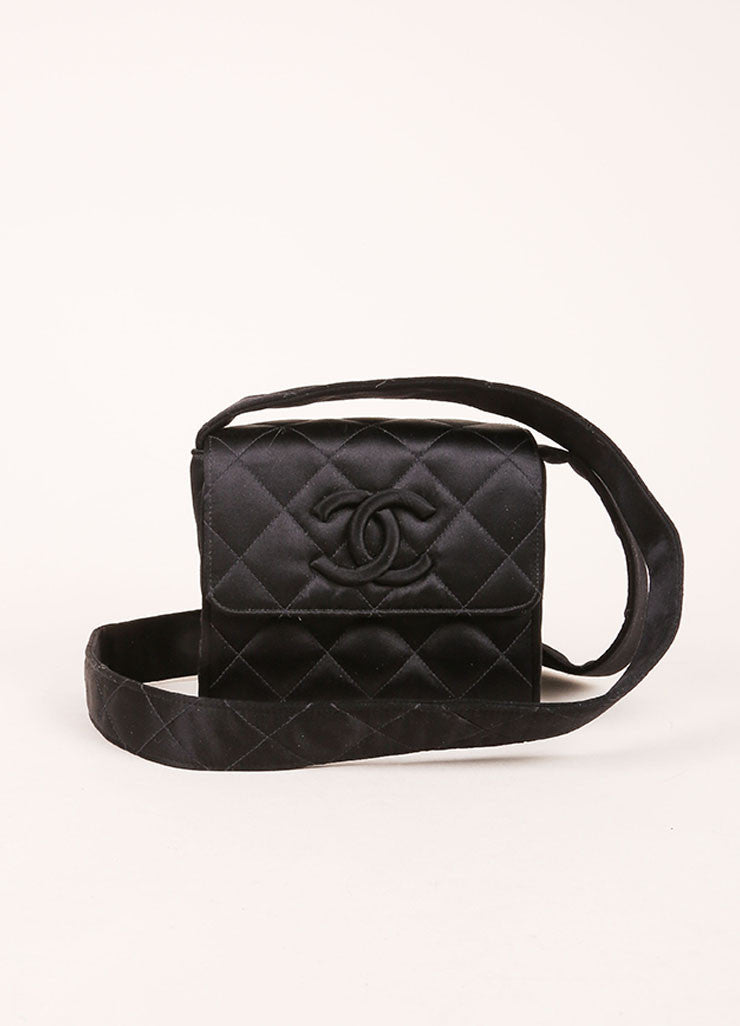 Chanel Black Satin Quilted Flap Mini Shoulder Bag Frontview