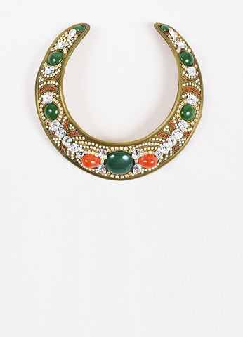 M&J Hansen Brass Toned Metal Green and White Resin Crystal Collar Necklace Frontview