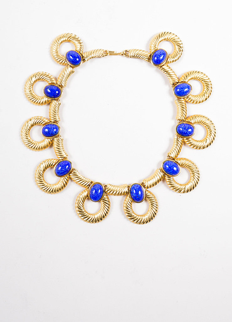 Mimi Di N  Gold Toned and Blue Cabochon Stone Textured Hoop Link Necklace Frontview