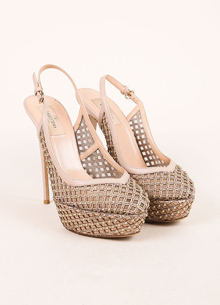 Valentino Nude and Silvery Gold Cage Mesh and Leather Slingback Pumps Frontview