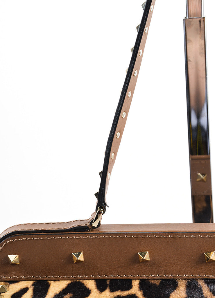 "Valentino Brown Pony Hair Leather Leopard Print ""Rockstud"" Frame Bag Detail 2"