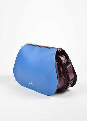 Burgundy, Blue, and Cream Valentino Leather Saddle Shoulder Bag Sideview
