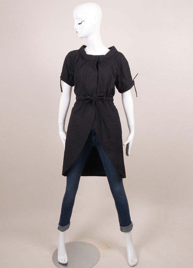 Vera Wang Black Crinkle Textured Drawstring Detail Short Sleeve Dress Coat Frontview