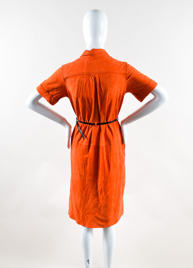 Victoria Beckham Orange Suede Short Sleeve Belted Shirt Dress Backview