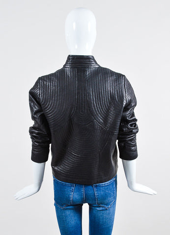 "Black Vilshenko Leather Circular Top Stitched Open ""Kate"" Jacket Back"