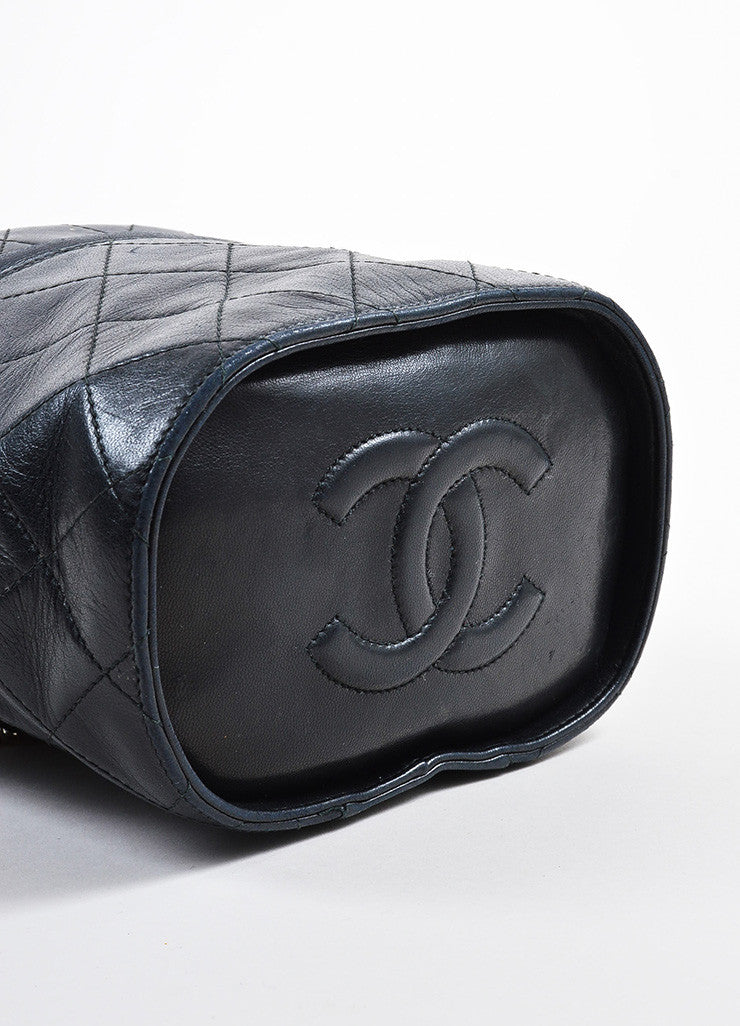 "Chanel Black Quilted Lambskin 'CC"" Tassel Cylinder Shoulder Bag Bottom View"