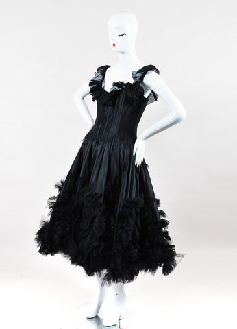 Oscar de la Renta Black Corset Ruffle Dress Sideview