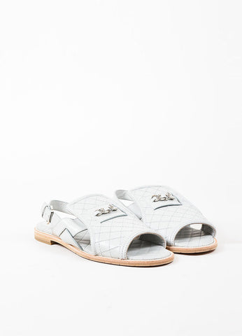 Chanel Grey Quilted Leather Chain Trim Flat Sandals Frontview