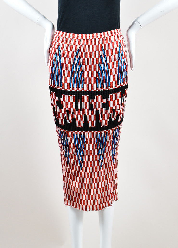 Alexander Wang Red and White Smocked Pleated Checkered Midi Skirt Frontview