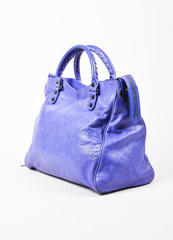 "Balenciaga Light Purple Distressed Leather ""Classic Velo"" Satchel Bag Back"