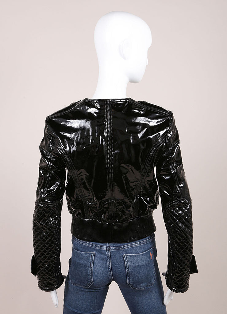 Burberry Black Patent Leather Quilted Details Moto Jacket Backview
