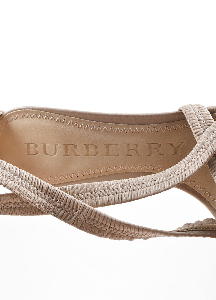 Burberry Beige Leather Plisse Strappy Heeled Sandals Brand