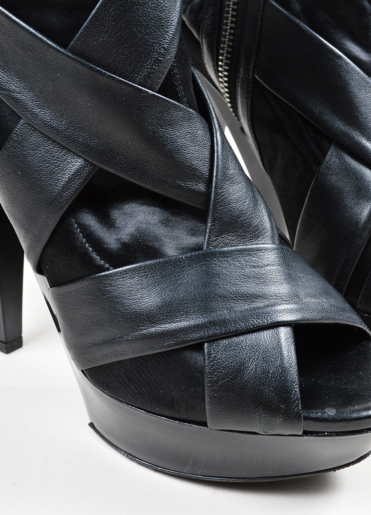 Black Burberry Prorsum Leather and Satin High Heel Peep Toe Ankle Boots Detail