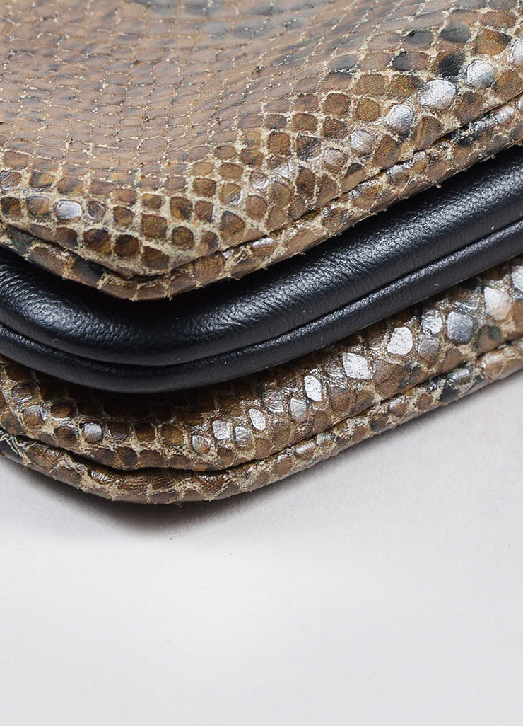 "Celine Brown Python 3 Compartment Detachable ""Trio"" Crossbody Clutch Bag Detail"